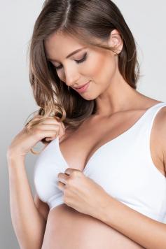 Biela tehotenská bavlnená podprsenka Lux