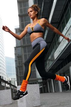 Čierno-oranžové športové legíny Veris