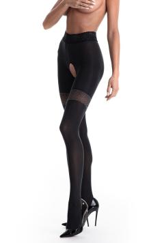 Čierne crotchless pančuchy Glamour 80DEN