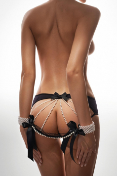 Čierne nohavičky s perlami Pearls Of Love